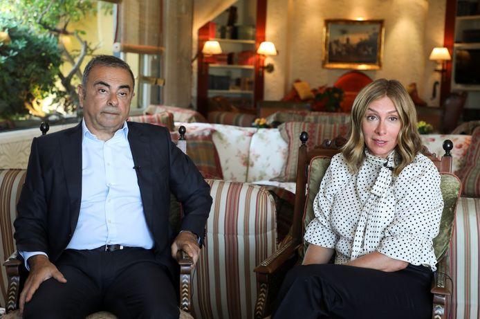 Carlos Ghosn en zijn vrouw Carole.