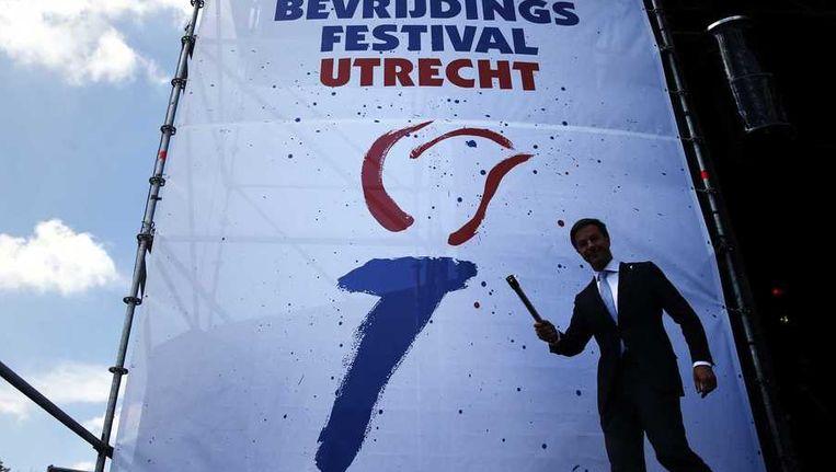 Premier Rutte opent de bevrijdingsfestivals vanuit Utrecht. Beeld anp