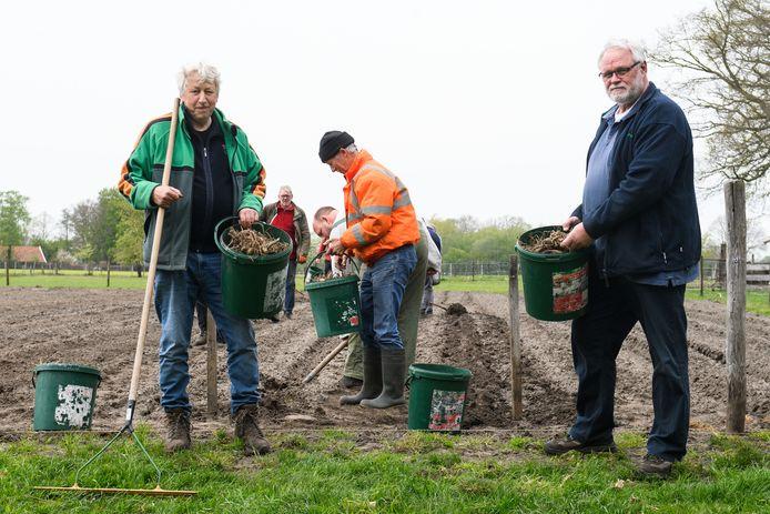 Arie te Velthuis (links) en Ben Hasselo (rechts) op het veld van de wagengroep Huurnerhoek aan de Zuid Rekkenseweg. Hier werden zaterdag 3.500 dahliaknollen gepoot.