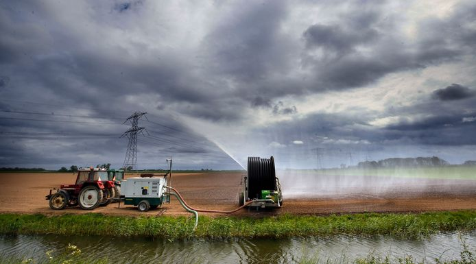 Boeren zijn hun land aan het beregenen om hun jonge gewassen te redden. Het is niet eerder zo vroeg in het jaar zo droog geweest.