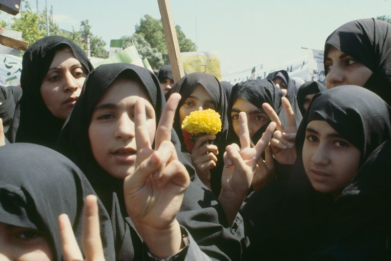 Internationale Vrouwendag in Iran.  Beeld Getty