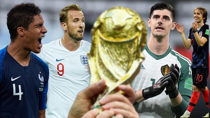 Vlnr: Raphaël Varane, Harry Kane, Thibaut Courtois en Luka Modric.