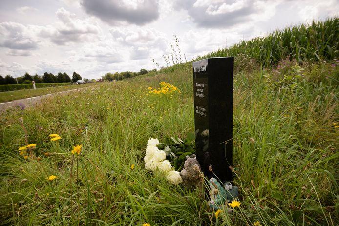 Bloemen  bij het bermmonument voor Mitchel Simons. Hij verongelukte daar zes jaar geleden met zijn motor.