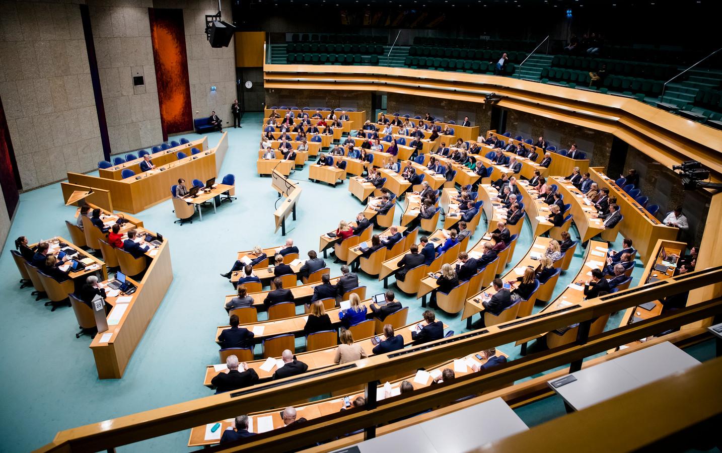 Een overzicht van de plenaire zaal van de Tweede Kamer tijdens de stemmingen