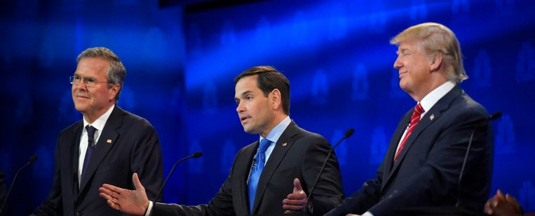 Vlnr: Jeb Bush, Marco Rubio, Donald Trump. Beeld AP