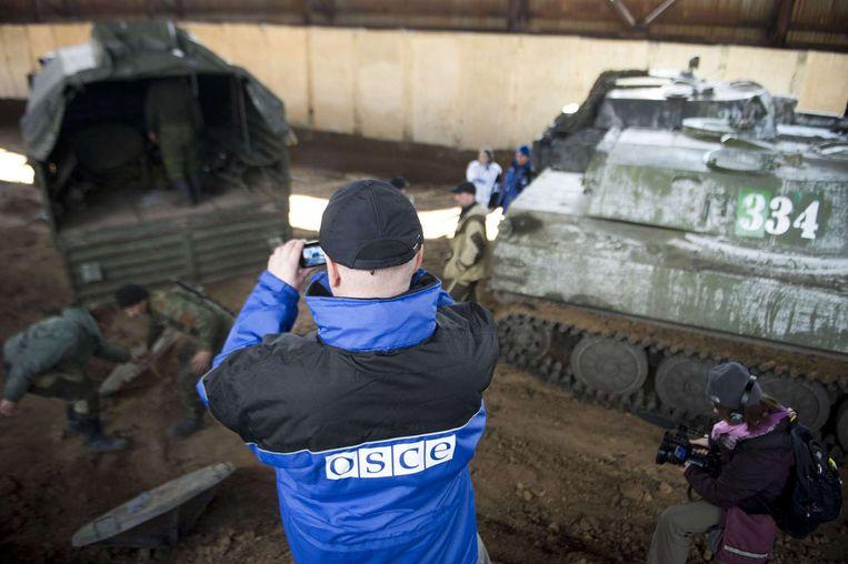 Een waarnemer van de OSCE (Organization for Security and Co-operation in Europe) of de OVSE (Organisatie voor Veiligheid en Samenwerking in Europa), illustratiebeeld.