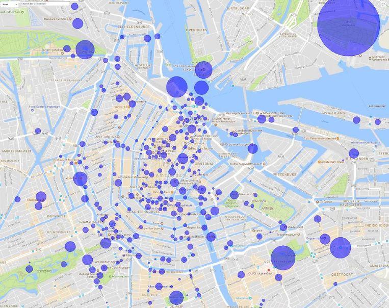Een deel van de plekken in de stad waar de Care Tag advies geeft Beeld KLM/Google Maps