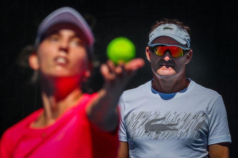 Mertens met haar coach David Taylor.