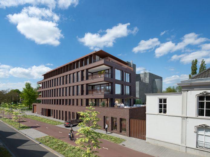Het definitieve ontwerp voor de bouw van acht appartementen in complex Bilderdijkliving aan de Bilderdijklaan in Eindhoven. Het wordt momenteel gebouwd tegen de zijkant van het Van Abbemuseum aan.