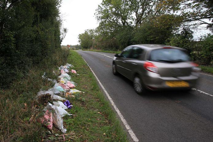 Bloemen bij de plek waar Harry werd doodgereden. De Amerikaanse diplomatenvrouw reed aan de verkeerde kant van de weg.