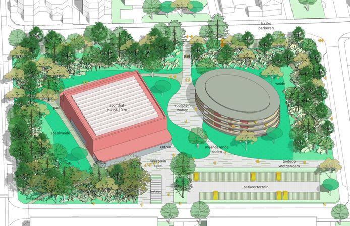 Het ensemble van de nieuwe sporthal met woongebouw en parkje dat Tropical/Margriethal vervangt.