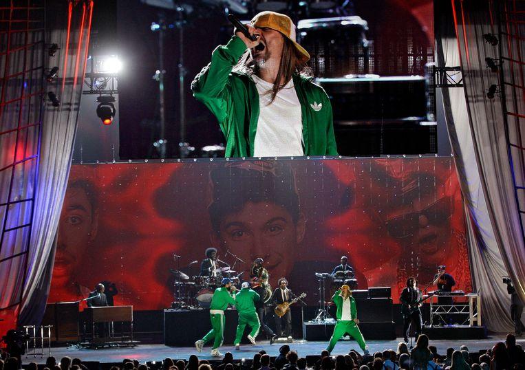 Kid Rock tijdens een tribute voor de Beastie Boys bij de Grammy awards. Beeld AP