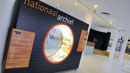 De entree van het Het Nationaal Archief in Den Haag, de grootste openbare archiefinstelling in Nederland.