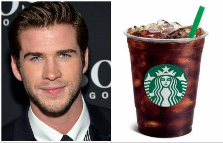 Liam Hemsworth neemt een iced coffee.