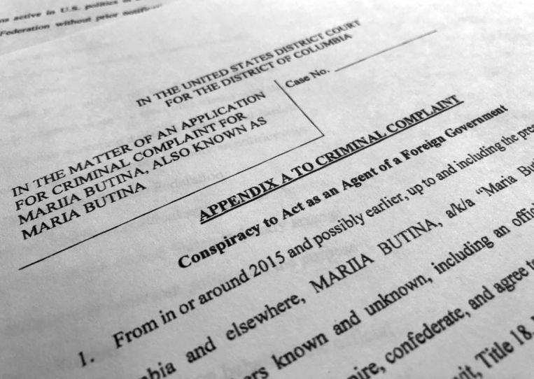 De aanklacht tegen Maria Butina die maandag bekend werd gemaakt.  Beeld AP