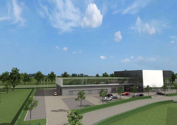 Impressie van het ontwerp van de BMW-garage aan de Kempenbaan, naast woonlandschap de Leyhoeve.
