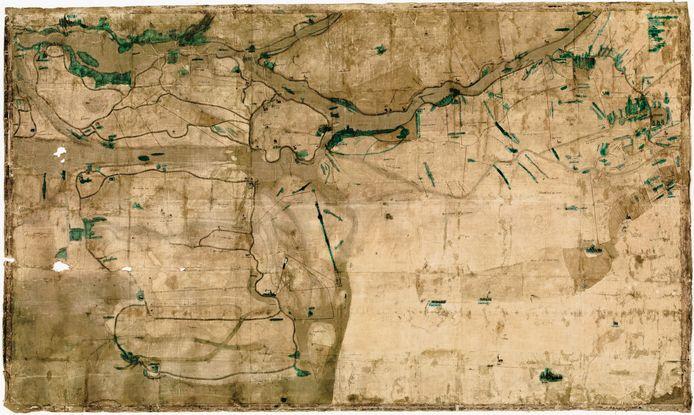 De historische kaart van Dordrecht en de Biesbosch van Cornelis Schilder uit 1540, waarop de Nieuwe Merwede uiteraard ontbreekt.