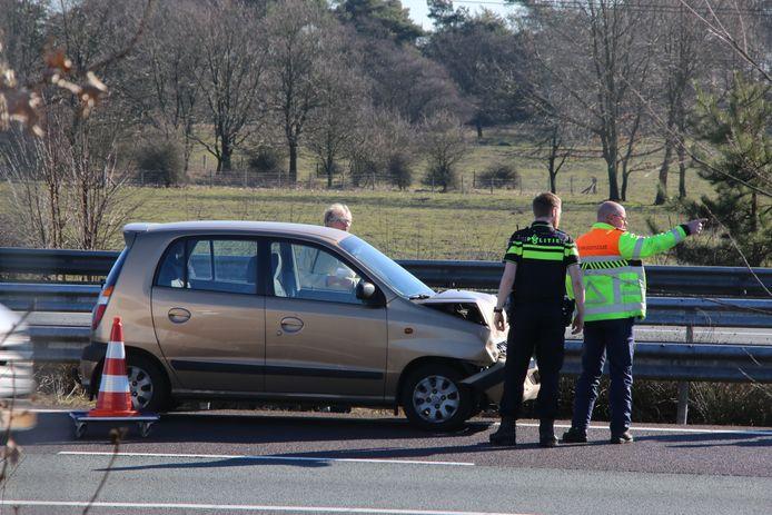 De auto liep schade op door het ongeval.