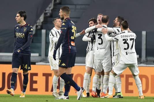Vreugde bij de spelers van Juventus na de 1-0.