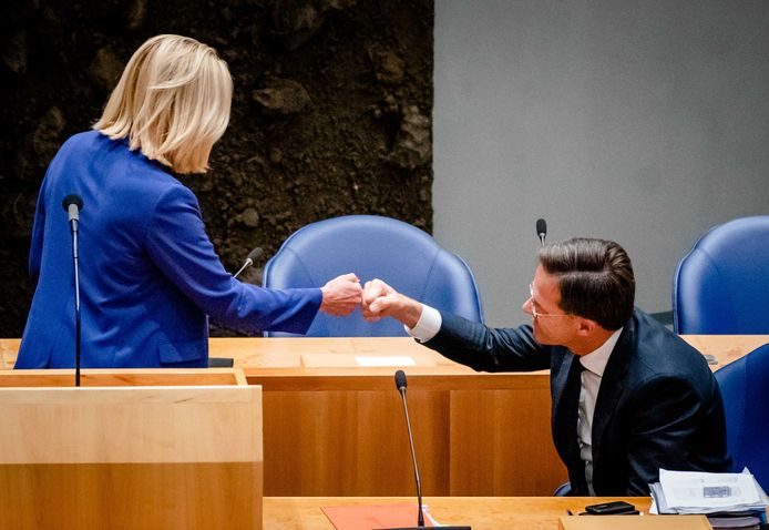 Sigrid Kaag en demissionair premier Mark Rutte, gisteravond.