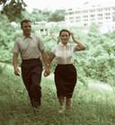 Joeri Gagarin en zijn vrouw Valentina (right) op vakantie in Sochi aan de Zwarte Zee.