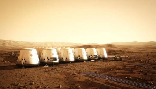 Zo zou de kolonie op Mars er kunnen uitzien.