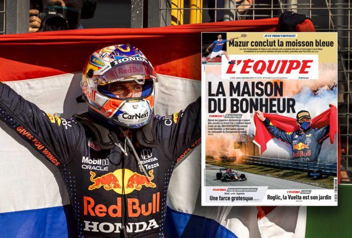 Max Verstappen en de voorpagina van L'Équipe.