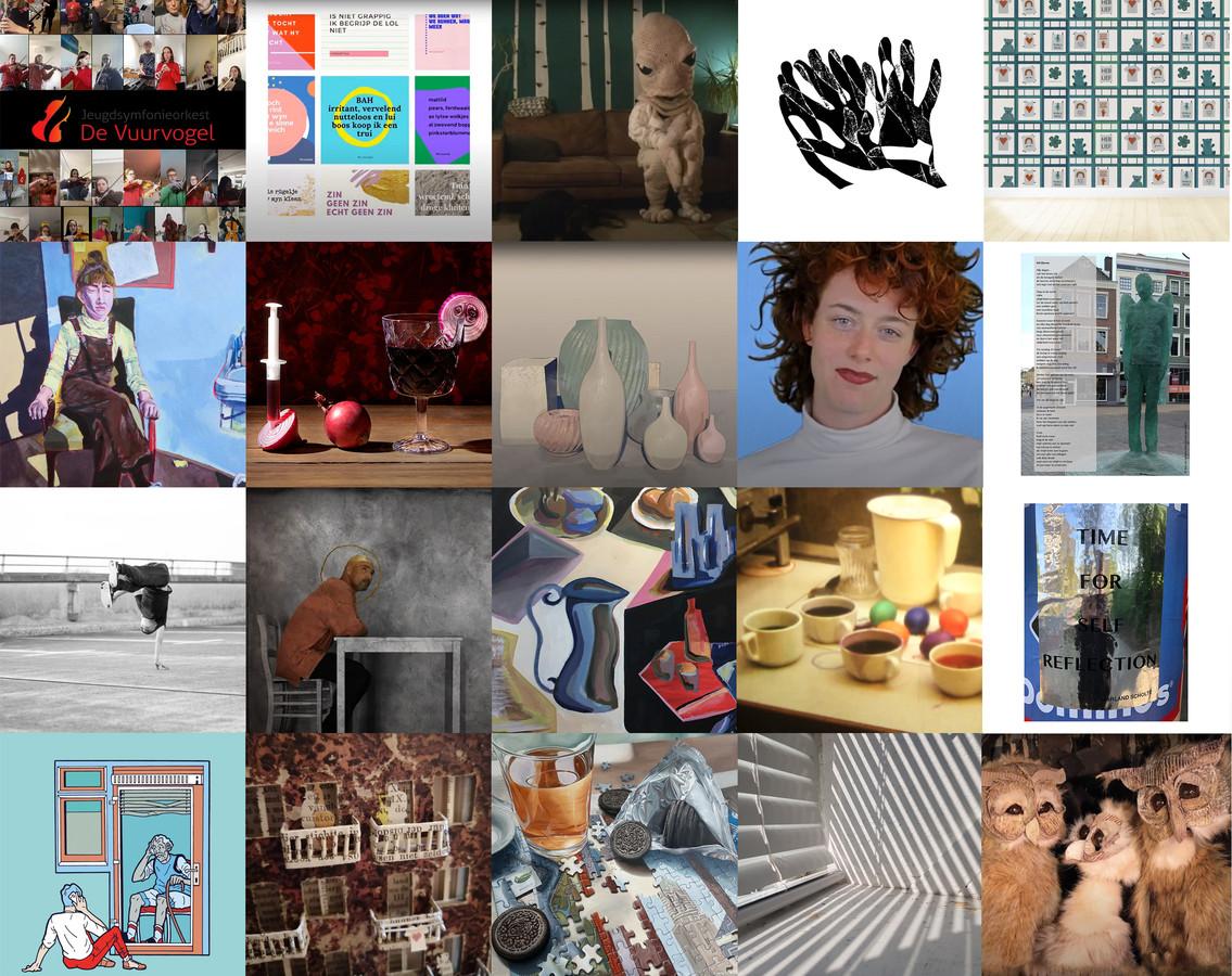 Een collage van de twintig 'winnende' kunstwerken.