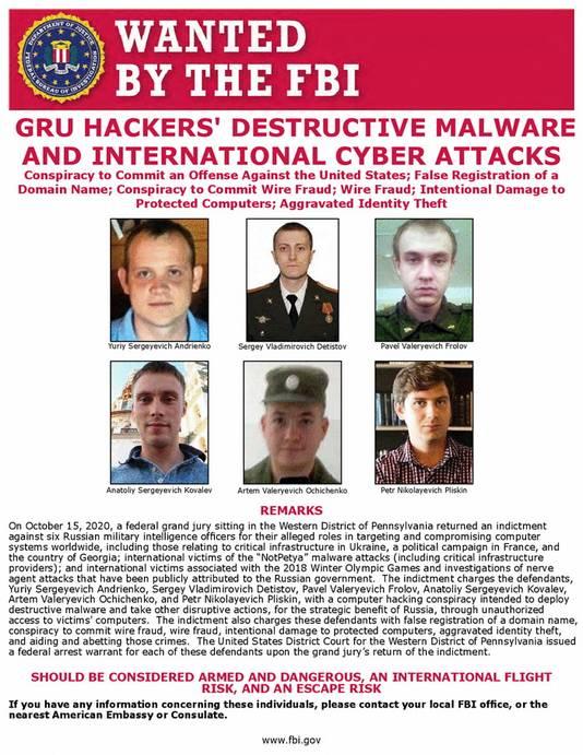 De FBI zoekt zes Russiche hackers in verband met de cyberaanval.