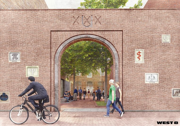 In de noordgevel van de Oudemanhuispoort aan de Slijkstraat moet een nieuwe poort komen. Beeld West 8