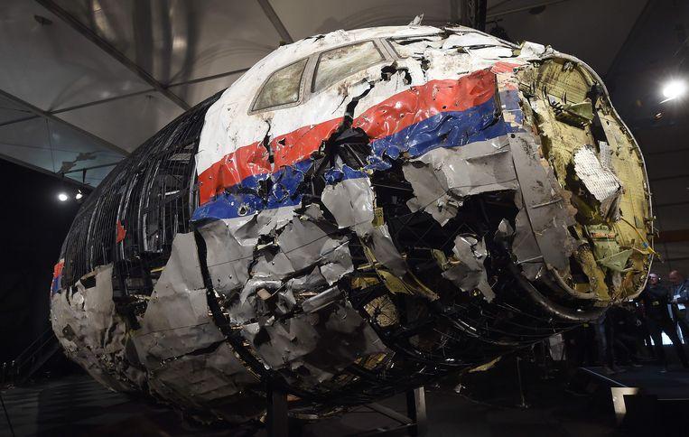 Wrak van het MH17-vliegtuig. Beeld AFP