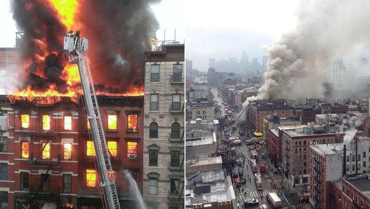 De brandweer blust het gebouw dat in New York ontplofte. Beeld Twitter