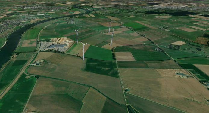 Vogelvluchtperspectief van de vier windmolens in De Gelderse Waard, gezien vanuit Hedikhuizen. Links, iets uit het midden steenfabriek VanderSanden. De afbeelding geeft een impressie en is afkomstig uit het door RWE bij de gemeente Heusden ingediende principeverzoek.