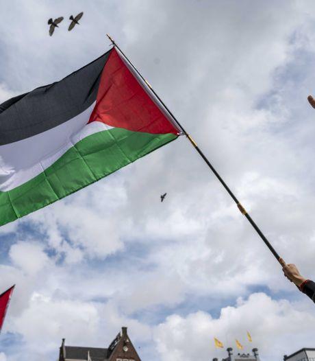 Demonstratie voor Palestina in Park Noordwest in Wageningen