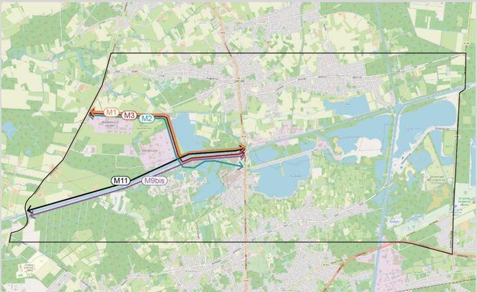 De mogelijke tracés voor de nieuwe verbindingsweg tussen de N18 en N118.