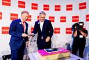 Ondernemer Marcel Boekhoorn (links) en Hema-ceo Tjeerd Jegen in oktober 2018. Boekhoorn kocht Hema toen van Lion Capital en werd als de grote verlosser binnengehaald.