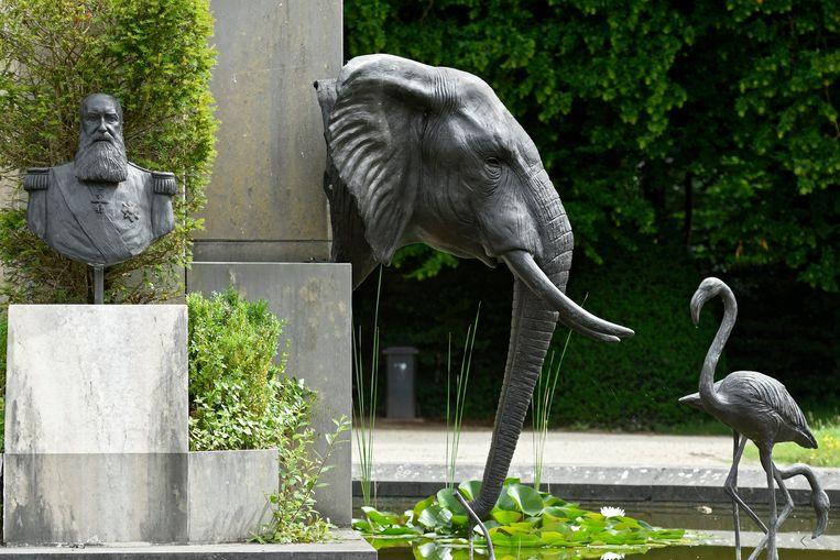Het herdenkingsmonument 'The Congo, I presume?' bij het AfricaMuseum in Tervuren. Beeld Photo News