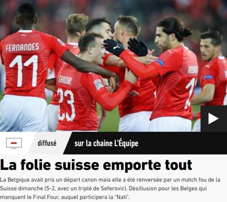 """""""Knotsgekke Zwitsers pakken volle buit tegen België"""" Beeld L'Équipe"""