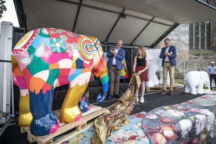 Kim Roeleveld signeert zondag replica's van de grote olifant waar haar winnende ontwerp op is geschilderd. Die onthulde ze in juni van dit jaar. Het kunstwerk krijgt een permanente plek in het centrum van Ootmarsum.