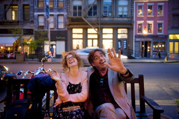 Joost Zwagerman in New York in april 2012 met Jessica Kroskinski. Beeld An-Sofie Kesteleyn