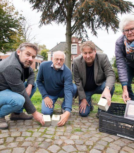 Mini-monumentjes in de stoep voor Joodse Diepenheimers die gingen en nooit meer terugkeerden