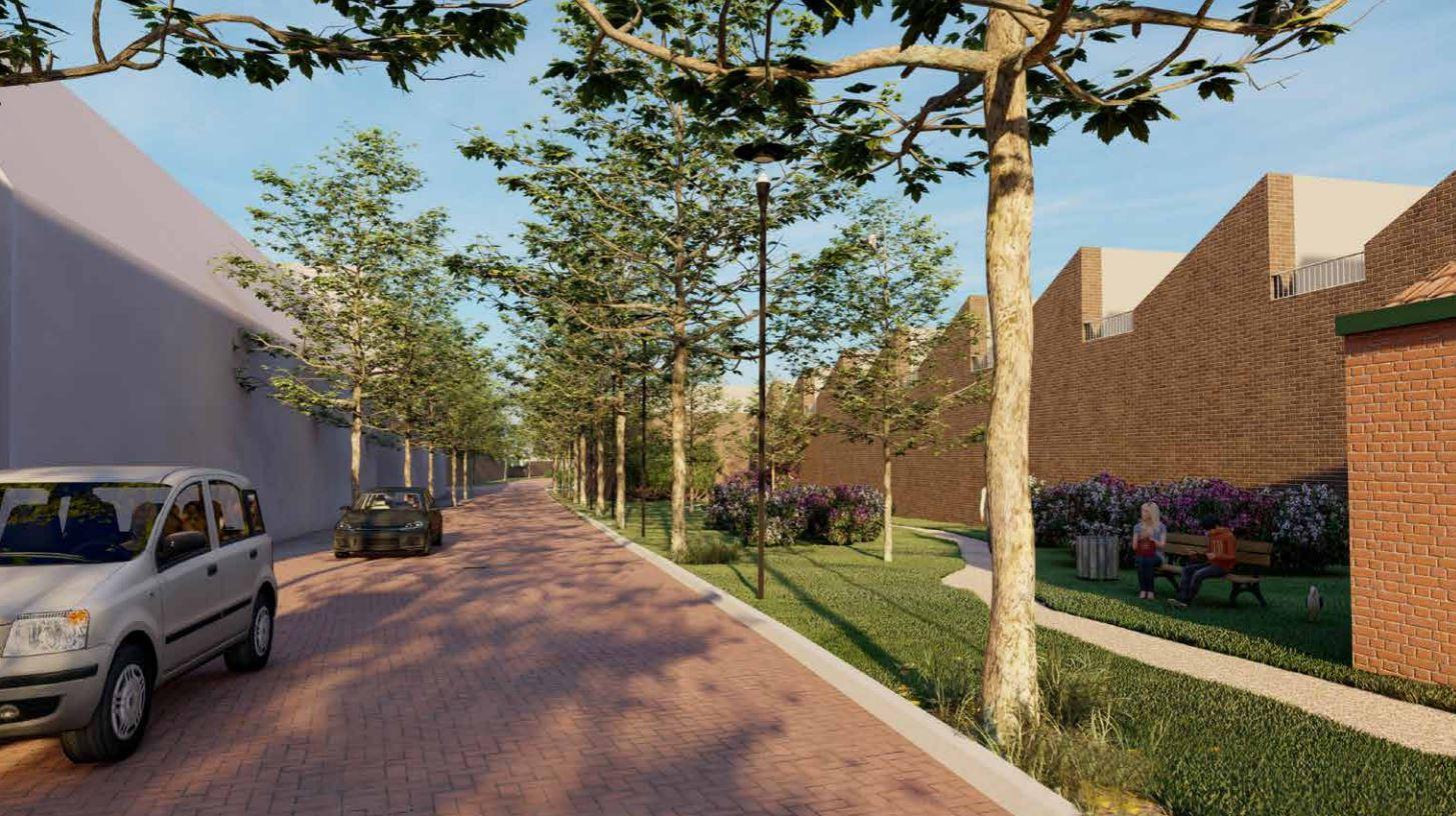 Impressie nieuwbouw op de plek van de kartonnagefabriek (rechts) aan de Baerdijk
