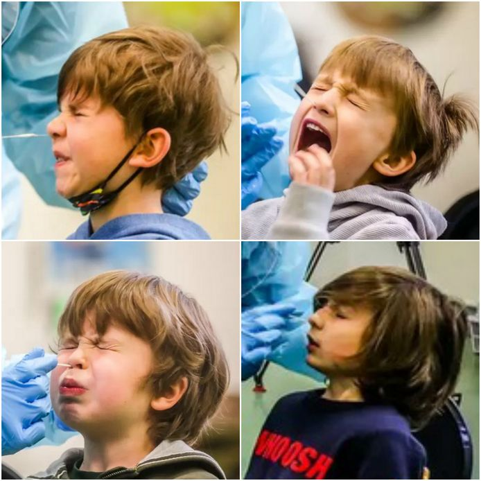 Heel wat kinderen hadden schrik voor de coronatest en trokken pijnlijke grimassen eens de wisser in hun neus ging.
