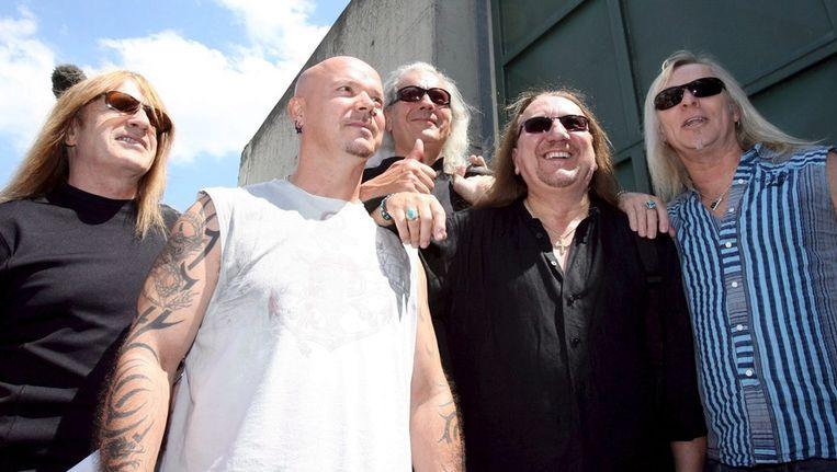Uriah Heep, met bassist Trevor Bolder helemaal links in beeld. Beeld EPA