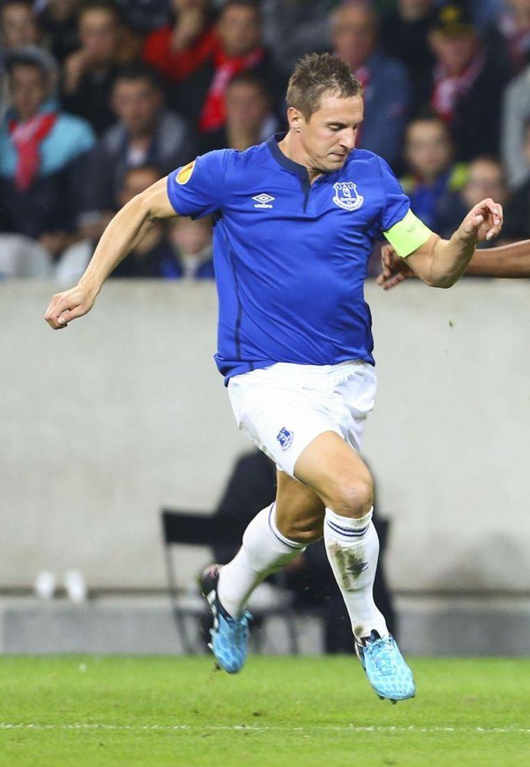 Enkel Phil Jagielka, ploegmaat van Lukaku bij Everton, is nog sneller volgens de lijst. Beeld PHOTO_NEWS