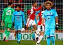 Sébastien Haller scoort namens FC Utrecht tegen Feyenoord.
