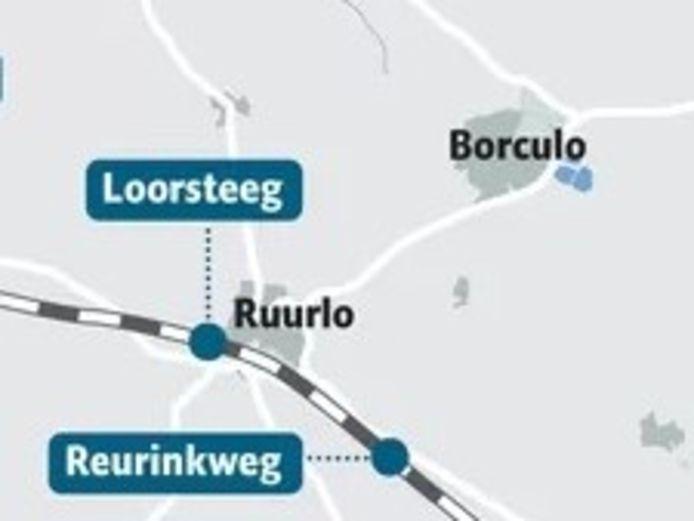 De twee onbewaakte overgangen in Berkelland liggen bij Ruurlo en worden afgesloten voor het verkeer