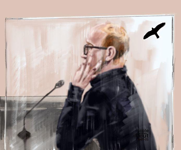 Rechtbanktekening van Tonnie E. in de rechtbank van Arnhem. Hij wordt verdacht van de doodslag op Shelley Bosch in Ede op 23 juni 2020.