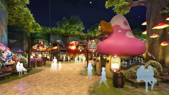 Het Smurfenpark in Shanghai opent in  de herfst.