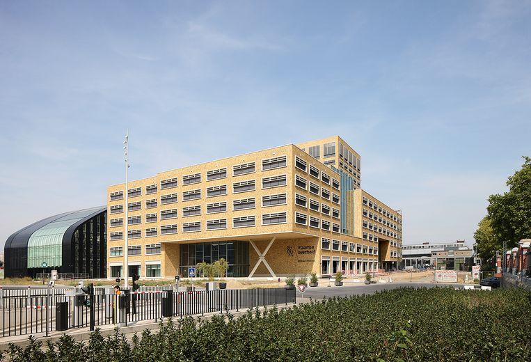 Het Herman Teirlinck-gebouw in Brussel, waar maandag ook zal geprotesteerd worden Beeld rv